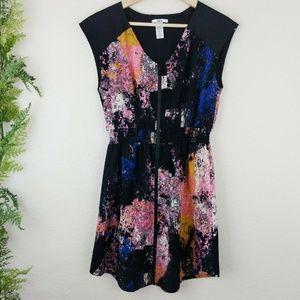 Bar III Dress Zip Front V-Neck Black Splatter S